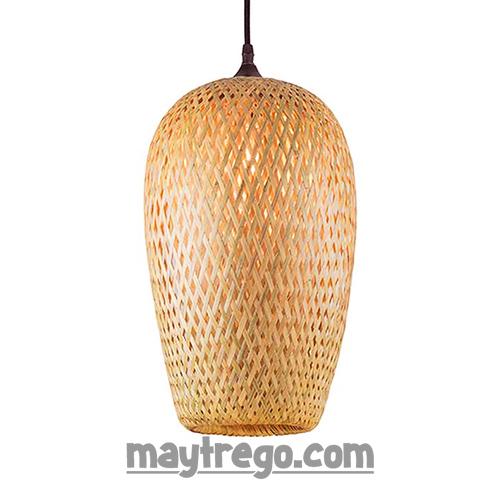 Đèn tre đan 2 lớp hình oval thả trần trang trí – Fi20cmxH30cm