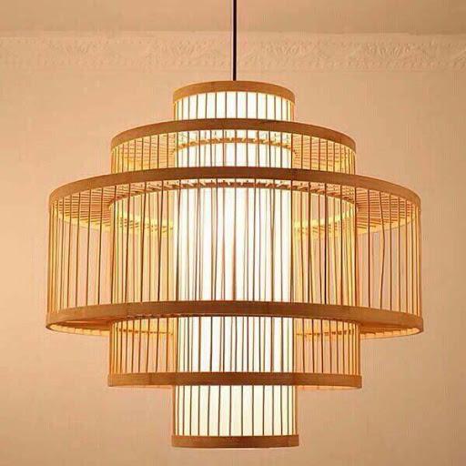 Đèn lồng tre hình trụ 3 tầng - Fi45cm x H45cm   Đèn tre ...