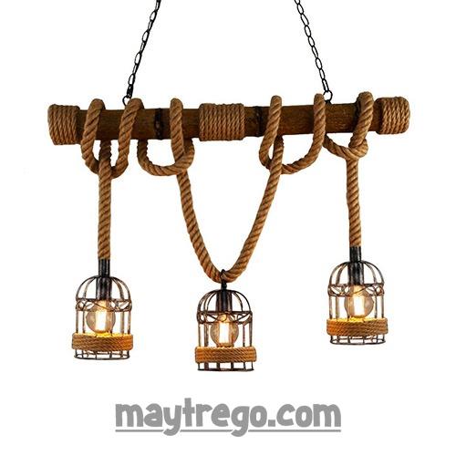 Bộ đèn thả khúc tre dây thừng trang trí nghệ thuật.
