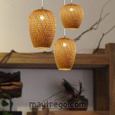 Chùm đèn mây tre đan 3 chao đèn kết hợp thả trần
